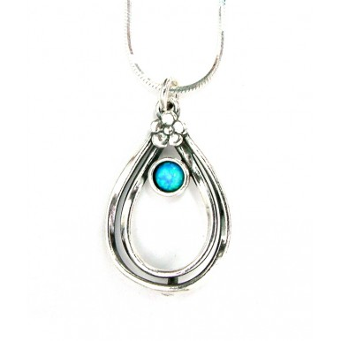 Teardrop necklace with small flower and round opal