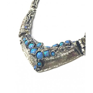 Stunning Statement Piece V Shape Collier with Opal Stones - Chunky