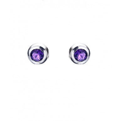 Small Round Amethyst Studs