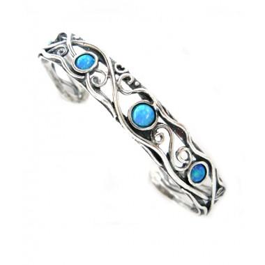 Sterling Silver Opal Cuff Bracelet - Swirls