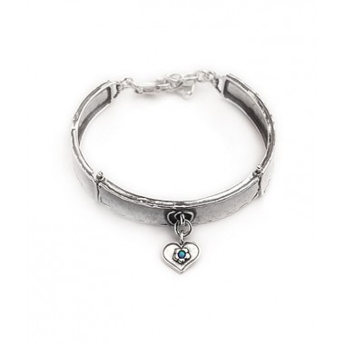Silver Dangle Heart Cuff Bracelet with Opal