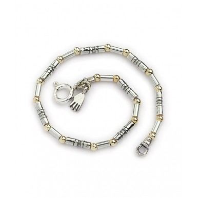 Silver bracelet with 9k gold round beads