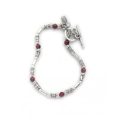 A T-bar Bracelet - Silver and Garnet Beads