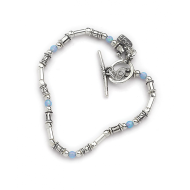 A T-bar Bracelet - Silver and Opal Beads