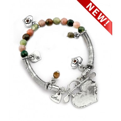 T-bar Heart Bracelet with Agate Beads and Charms