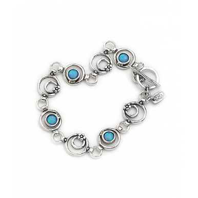 Silver Circles, Flowers and Opals Bracelet