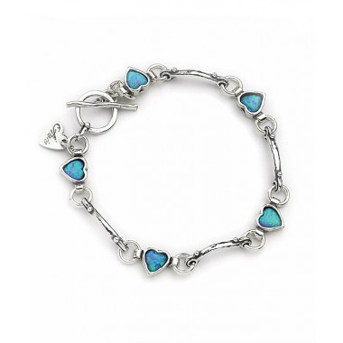 Silver Bracelet with Heart Opals