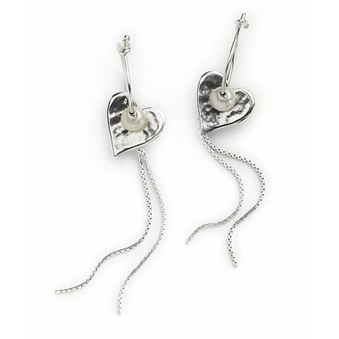 Silver and Pearl Heart Earrings with Double Trail