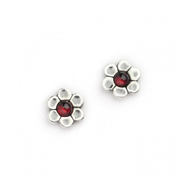 Silver with Garnet Flower Stud Earrings