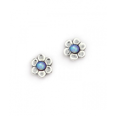 Silver with Opal Flower Stud Earrings