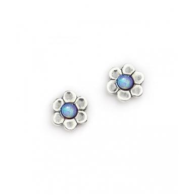 Silver with Opal Flower Stud Earrings
