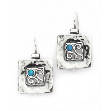 Silver Square Detailed Earrings with Opal