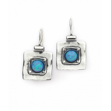 Silver Square Earrings with Opal