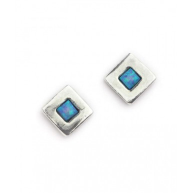 Silver and Opal Square Stud Earrings
