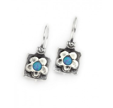 Silver Square with Flower Earrings