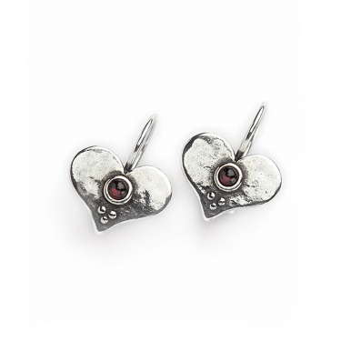 Heart Earrings with Garnet Stones