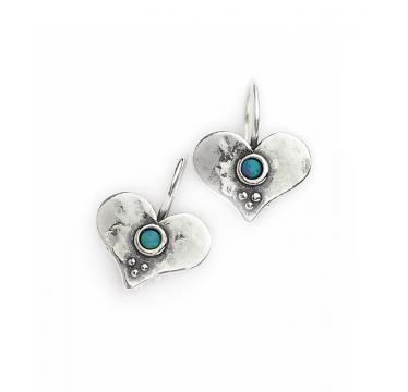 Heart Earrings with Opal Stones