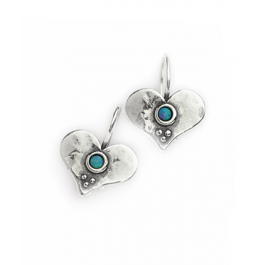 Heart Earrings with Opal Stones