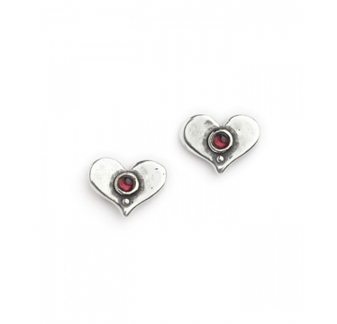 Silver with Garnet Heart Shaped Stud Earrings