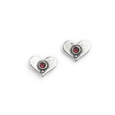 Silver with Garnet Heart Shaped Stud Earrings