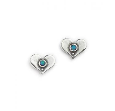 Silver with Opal Heart Shaped Stud Earrings