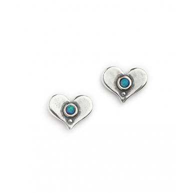 Silver with Opal Heart Shaped Stud Earrings