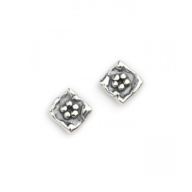 Silver Flower in a Square Stud Earrings