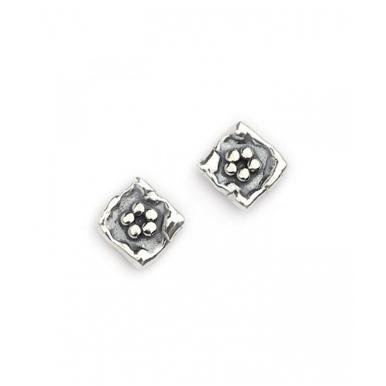 Silver Flower in a Square Stud Earrings
