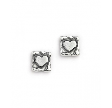Silver Heart in a Square Stud Earrings
