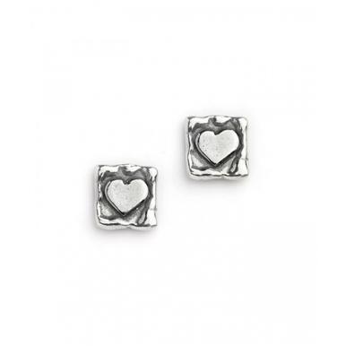 Silver Heart in a Square Stud Earrings