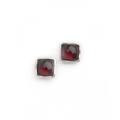 Silver and Garnet Simple Square Stud Earrings
