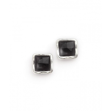 Silver and Onyx Simple Square Stud Earrings