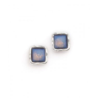 Silver and Opalite Simple Square Stud Earrings