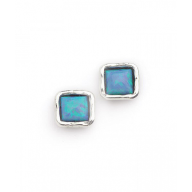 Silver and Opal Simple Square Stud Earrings