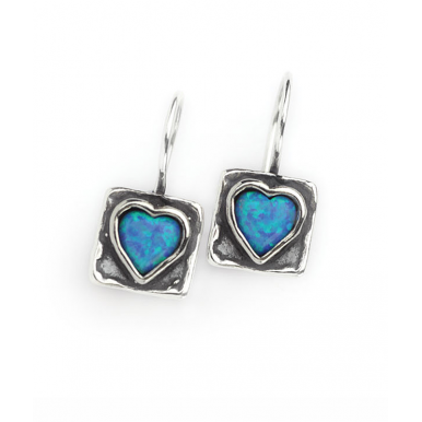 Silver Square Earrings with Opal Heart