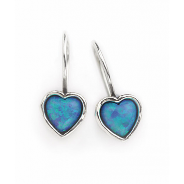 Silver and Opal Plain Heart Earrings OUT OF STOCK