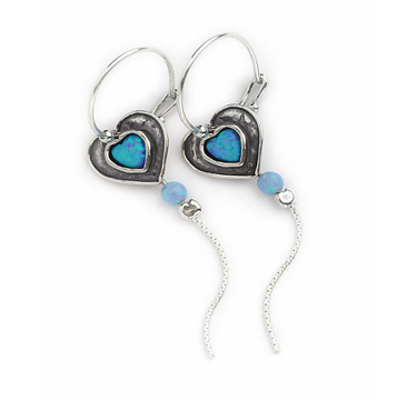 Silver and Opal Heart Earrings with Trail
