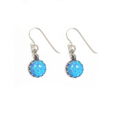 Large Round Opal Drop Earrings