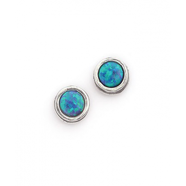 Silver and Opal Small Circle Stud Earrings
