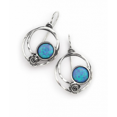 Silver Double Ring Earrings with Flower and Opal
