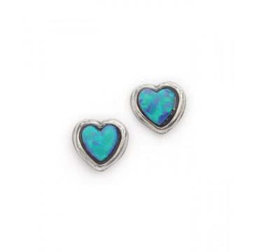 Silver and Opal Small Heart Stud Earrings