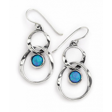 Silver and Opal Linked Circle Earrings