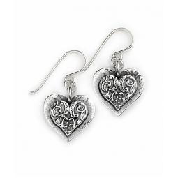 Silver Detailed Heart Earrings