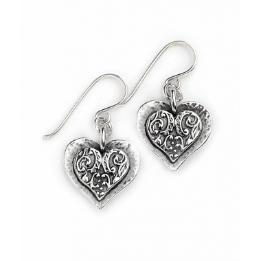 Silver Detailed Heart Earrings