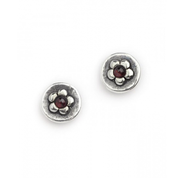 Silver and Garnet Flower in a Circle Stud Earrings