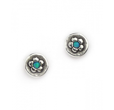 Silver and Opal Flower in a Circle Stud Earrings