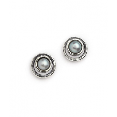 Silver and Pearl Double Circle Earring