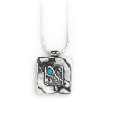 Sterling Silver Square Opal Pendant