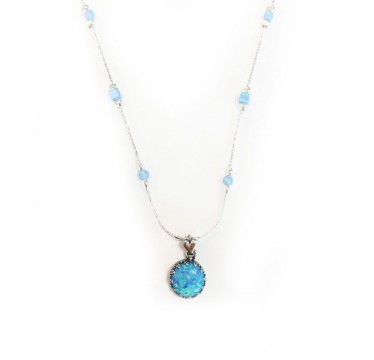 Large Round Opal Necklace with Opal Beads