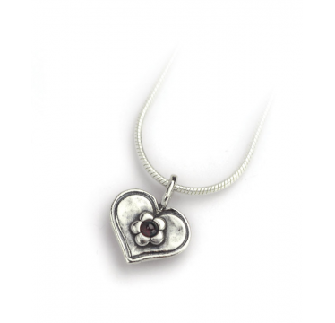 Silver Heart Necklace with Flower and Garnet